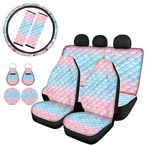 Goyentu Pink Blue Gold Mermaid Scale Car Seat Covers Full Set Front/Rear Rear Split Bench Seat Cover+Steering Wheel Cover,Seat Belt Cushion,Car Coasters Absorbent,Keychains Universal Fit
