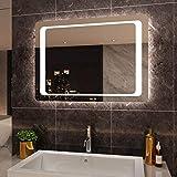 SIRHONA 90x60cm Miroir de Salle de Bains avec éclairage à LED Mirror Cosmetic Applique Murale pour éclairage Illumination avec...