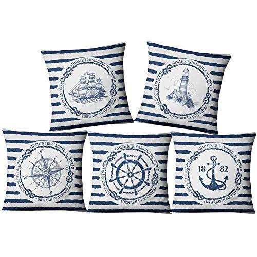 Juego de 5 fundas de cojín de 45 x 45 cm, color azul marino, diseño de ancla, faro, brújula, decorativas, fundas de almohada de algodón y lino para sofá, sofá, coche, dormitorio, decoración del hogar