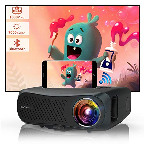1080P Full HD Wireless Projector with Bluetooth Wifi Zoom HDMI USB VGA AV Audio Speakers, 1920x1080 Native Support 4K, LED Lamp/LCD Screen, for iOS Android Phone TV Game DVD Laptop Home Outdoor Movie