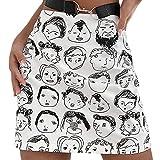 Minigonna Sexy da Donna a Vita Alta Y2k Gonne Aderenti Stretch Ritratto Dipinto a Mano Stampato A Line Gonna Corta E-Girl Streetwear (White, Large)