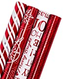 WRAPAHOLIC Christmas Wrapping Paper Roll - Red and White Christmas Design with Metallic Foil Shine - 4 Rolls - 30 inch X 120 inch Per Roll
