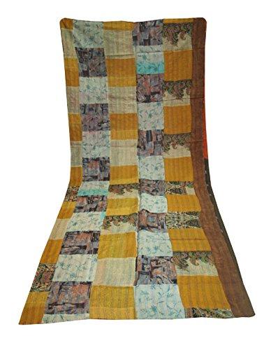 silkroude Handgefertigte Tagesdecke aus Seide, Patchwork, Bettüberwurf Kantha Handstich Decke Überwurf Kunst