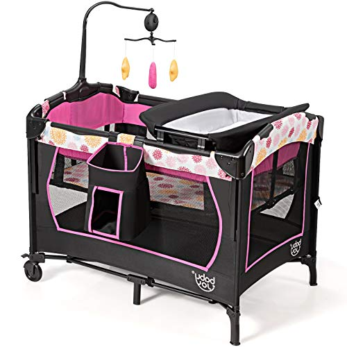 GYMAX Baby Travel Cot, 3 in 1 Bassinet Bed Activity Play Center with Changing Table, Mattress and Carrying Bag, Portable Infant Playpen Entryway (Pink+Black)