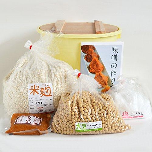 味噌手作りセット(甘口版)7kg用 樽付き(大豆1.24kg,米麹2.73kg,塩850g)