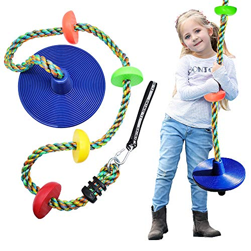 DUENEW Climbing Rope Tree Swing with Multicolor Platforms and Blue Disc Swings Seat Set Outdoor Backyard Playground Playset Accessories for Kids