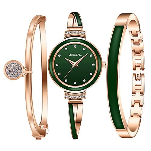 Souarts Geschenke für Frauen, Damenuhr Rosegold Armreif Geschenkset, Armbanduhr Schmuck Set, Damen Uhren Analog Quarz Edelstahl(Rosegold Grün)