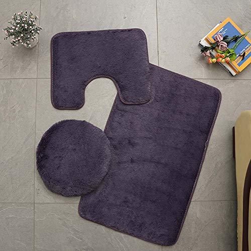 Homieco Tapis de Salle de Bains Couleur Pure 3Pcs Bath Mat Antidérapant Doux et Absorbant Tapis & Couvercle Toilette Couvercle Set Lavable, Violet Gris