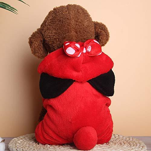 Yanmeng Perro con Capucha, Ropa, Lana Puente suéter Caliente, 4-Pierna de la Chaqueta Chaqueta de algodón de la Camiseta (para Perros pequeños), Tamaño: XS (Rojo) (Color : Red)