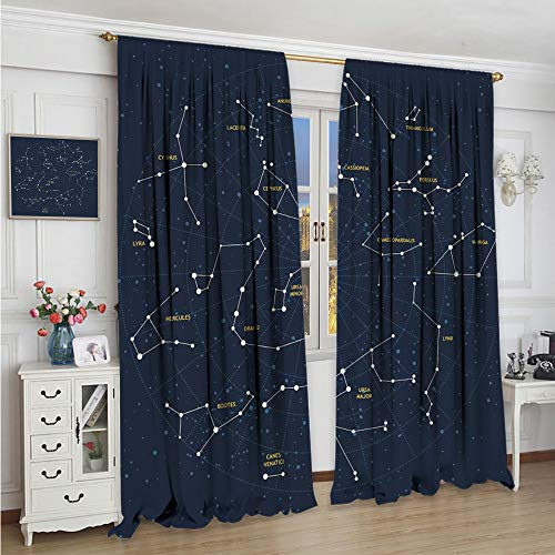 Homrkey Shading Insulated Curtain Constellation Sky map Andromeda Lacerta Cygnus lyra Hercules Draco Bootes Lynx Waterproof Fabric Dark Blue Yellow White W108 x L84 Inch