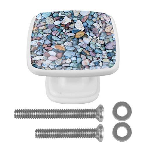 4 st dekorativa knoppar, flerfärgat glasskåp dragknappar för byrålådor bad kök skåp möbler färgglad makadam sten