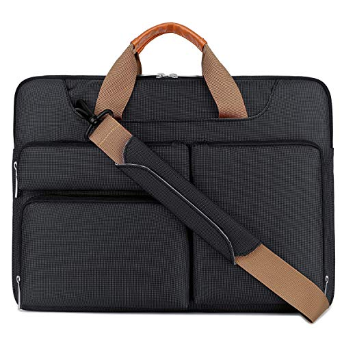 Lacdo 360° Protective Laptop Shoulder Bag Sleeve Case for 16-inch New MacBook Pro A2141, 15 inch New MacBook Pro 2016-2019, 15.4' Old MacBook Pro, 15' Surface Book 3/2 Dell Computer Notebook Bag,Black