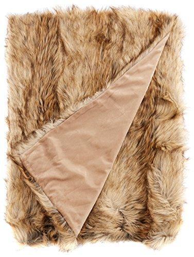 Linder 5011/28/841/150 Grizzly Colcha, cubresofá, Piel sintética, algodón, 200 x 150 cm, Beige