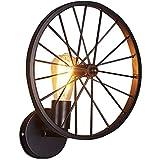 LED自転車ホイールランプ工業用風ブラックアイアンアートカフェレストランE27サーキュラーライト