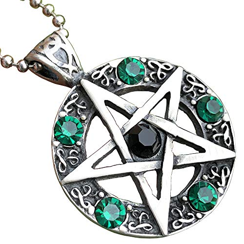 Wicca Jewelry Celtic Pentagram Pentacle Star Black-Green Crystal Gem Wiccan Pagan Witch Magic Healing Protection Amulet Pewter Men's Women's Pendant Necklace Charm for Men Women Silver Ball Chain