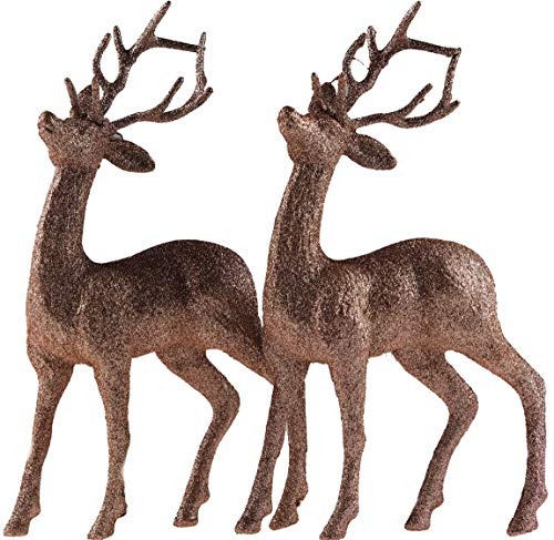 Snow White Set Of 2 Rose Gold Glitter Reindeer Figurines - Christmas Decoration Ornaments.