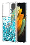 WORLDMOM Glitter Case for Samsung Galaxy S21 Ultra Case, Bling Flowing Liquid Floating Sparkle Colorful Waterfall TPU Clear Cover Case Compatible with Samsung Galaxy S21 Ultra 6.8' 2021, Blue