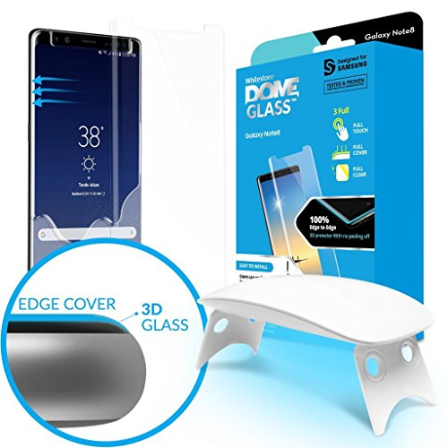 Galaxy Note 8 Screen Protector Tempered Glass Shield, [Liquid Dispersion Tech] 3D Curved Full Coverage Dome Glass, Easy Install Kit and UV Light by Whitestone for Samsung Galaxy Note 8 (2017) (1 Pack)
