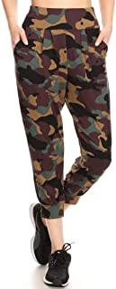 Womens Solid Color Loose Fit Jogger Harem Pants Casual Bottoms Skinny Self Tie