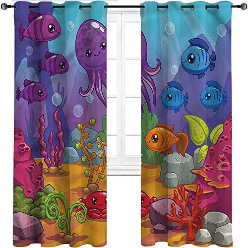 UNOSEKS LANZON Blackout Window Curtains Whale, Underwater World Aquarium Room Divider Curtains for Entryway/Garage (2 Panels, W36 x L84 Inch)