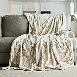 Oversized Throw Blanket Warm Elegant Softest Cozy Faux Fur Home Throw Blanket 60' x 80', Marbled Ivory