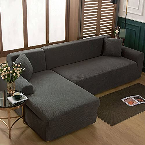 Sofabezüge Stretch Sofabezug L-Form, 2-teiliger Sektional Couchbezug Jacquard Elasthan Stoff Möbelschutz Sofa Schonbezug für Wohnzimmer-Dunkelgrau-2+3 Sitzer