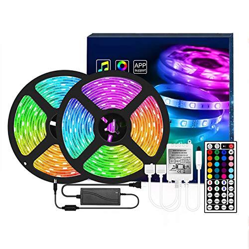 Tiras LED con Control Remoto, 20 Colores 8 Modos de Brillo y 6 opciones DIY Luces LED 5050 RGB para Sala, Comedor, Cocina, Navidad, Halloween y Fiesta (Size : 20M)