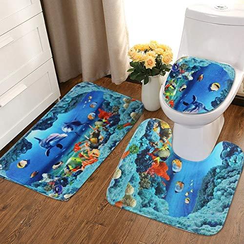 Contactsly Weiches Badezimmer Mat An Ocean Dolphin Badezimmer Teppich Set Pedestal Teppich Deckel Toiletten-Abdeckung Badmatte Set (Farbe : Blau, Größe : Einheitsgröße)