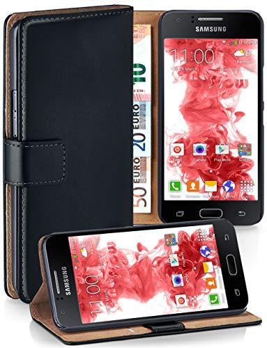 moex Klapphülle kompatibel mit Samsung Galaxy J1 (2015) Hülle klappbar, Handyhülle mit Kartenfach, 360 Grad Flip Case, Vegan Leder Handytasche, Schwarz