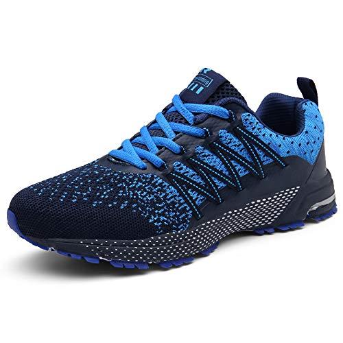 SOLLOMENSI Zapatillas de Deporte Hombres Mujer Running Zapatos para Correr Gimnasio Sneakers Deportivas Padel Transpirables Casual Montaña 46 EU F Azul