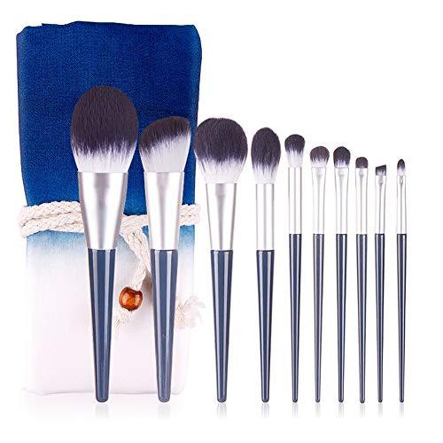 Ensemble de pinceaux multifonctionnels de maquilla Voyage Outils de maquillage portable 10 bleu Nano Fibre Silk Soies Beginner Beauty Tool Set Sac ceinture Outil de beauté professionnel et durable