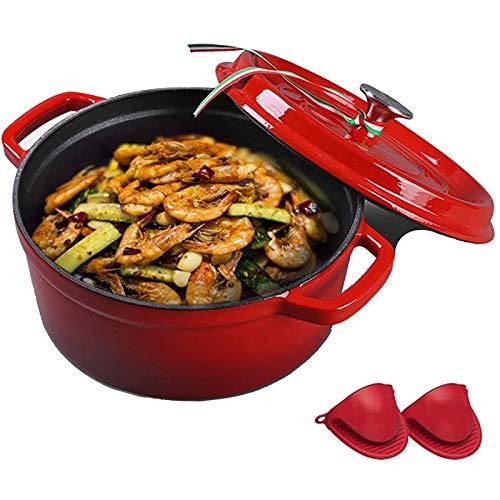 TYUIOYHZX Plato de cazuela de Hierro Fundido esmaltado de 24 cm, hornos holandeses de Esmalte de cerámica Redondo OT, para Preparar Comidas de cocción Bajas y lentas (Color : Red)