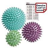 Pack de 3 - punta bolas de masaje de reflexología Estrés - 6 cm, 8 cm, 10 cm - Punto de activación de masaje - Myofasical bola, bola del ejercicio, bola de LaCrosse, PAH y ftalatos gratuito