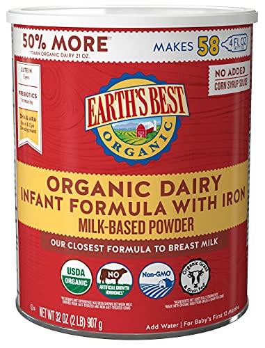 Earth's Best Organic Baby Formula, Dairy Based Powder Infant Formula with Iron, Non-GMO, Omega-3 DHA and Omega-6 ARA, 32 oz