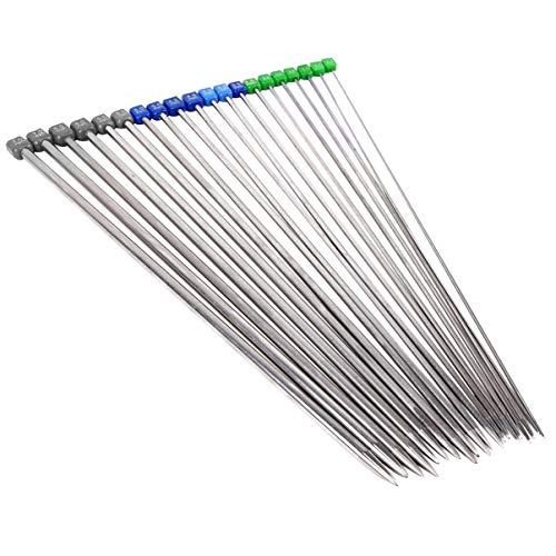 Angoily Juego de 10 pares de agujas de tejer de 36 cm de longitud, acero inoxidable, rectas, una sola punta, ganchillo, para tejer a mano, suéteres, 2. 0 a 7 mm (plateado)