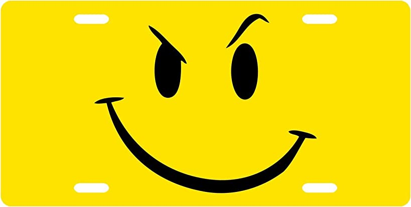 Yellow Smiley Custom License Plate Novelty Tag from Redeye Laserworks