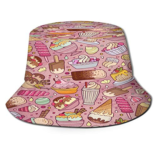 MAYUES Unisex Bucket Sun Hats Cartoon Handdrawn Ice Cream Doodles Seamless Fashion Summer Outdoor Travel Beach Fisherman Cap