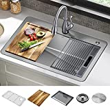 DELTA 95A932-33S-SS Lorelai Workstation Kitchen Sink Drop-in Top Mount Stainless Steel Single Bowl with WorkFlow Ledge and Chef's Kit of 5 Accessories
