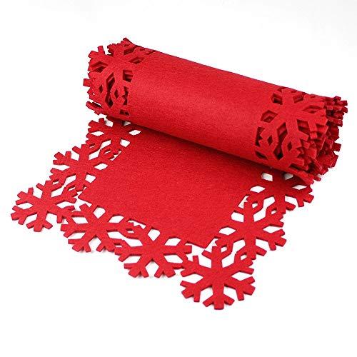 Mesa de Navidad roja copo de nieve, Rojo, 2 Mtr Table Runner