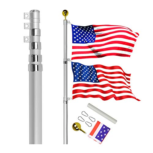 Golemas Telescoping Flag Pole Kit, Heavy Duty Aluminum Flag Pole Fly 2 Flags, with 3 x 5 American Flag for Outdoor, Commercial,Residential Use (20FT, Silver)