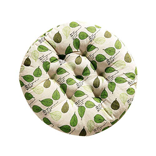 JLWM Chair Pad Round Tatami Seat Cushion Cotton Linen Plant Flowers Geometric Patterns Seat Pad Chair Cushion Thicken For Floor Bay Window Balcony-A-45x45cm