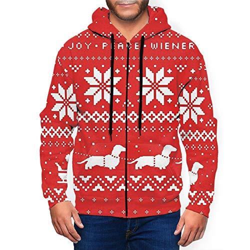 Weiner Dogs - Sudadera con capucha para hombre con cremallera completa y bolsillos para uso diario