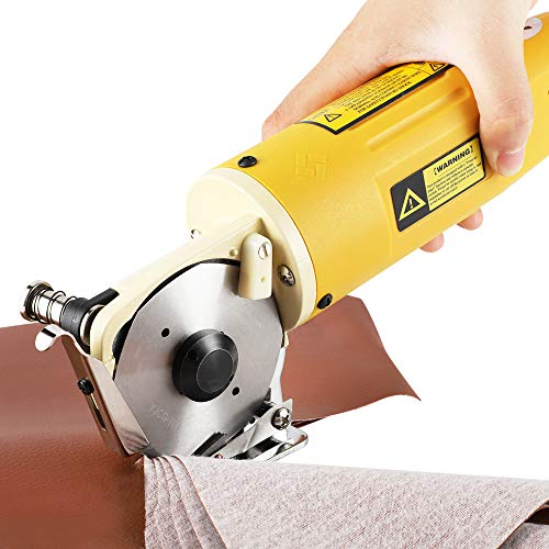 CGOLDENWALL Electric Rotary Fabric Cutter Cloth Cutter Cloth Cutting Machine Electric Rotary Scissors Industrial Grade with 70mm Diameter Blade Ideal for Multi-Layer Textile Leather Paper