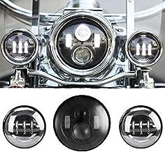 SUNPIE 7 Inch Black Motorcycle LED Headlight + 2pcs 4-1/2