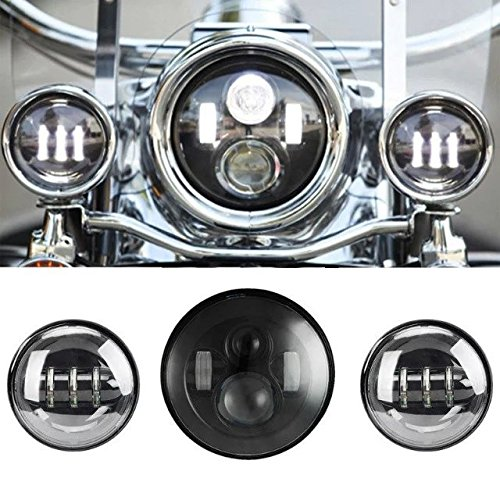 """SUNPIE 7 Inch Black Motorcycle LED Headlight + 2pcs 4-1/2"""" Fog Lights for Harley LED Passing Lights Front Lights Driving Lamp Projecotor"""
