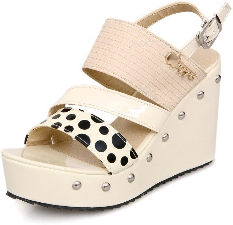 AmoonyFashion Women's PU Polka-dots Buckle Open-Toe High-Heels Sandals