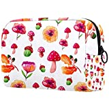 AITAI Bolsa de maquillaje grande bolsa de viaje organizador cosmético acuarela otoño setas flor bellota