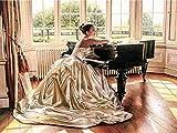 Pintura de diamantes mujer mosaico de diamantes kit de piano bordado arte de pared círculo completo diamante pintura de diamantes hecha a mano A2 45x60cm