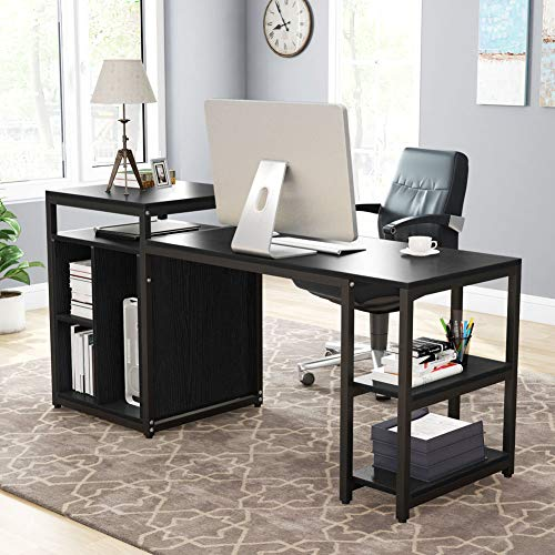 Tribesigns Extra Large Computer Desk with Storage Shelf, Home Office Desk with Printer Stand & Cabinet Bookcase Combo, Writing PC Table with Space Saving Design,Black