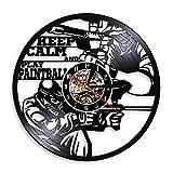 Enofvd Mantenga la Calma y juegue con Bolas de Colores Tema decoración de la Pared Reloj Retro Disco de Vinilo Reloj Campana Reloj diseño decoración 12 Pulgadas